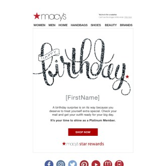 Macy's 2018 Birthday Email